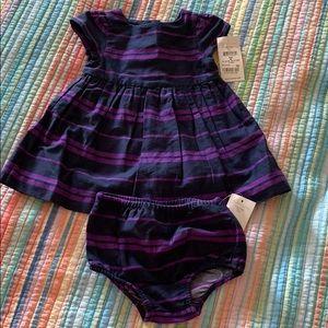 Ralph Lauren blue and purple striped infant dress.